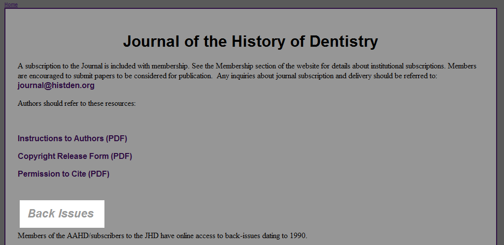 Journal of the History of Dentistry | American Academy of the ...